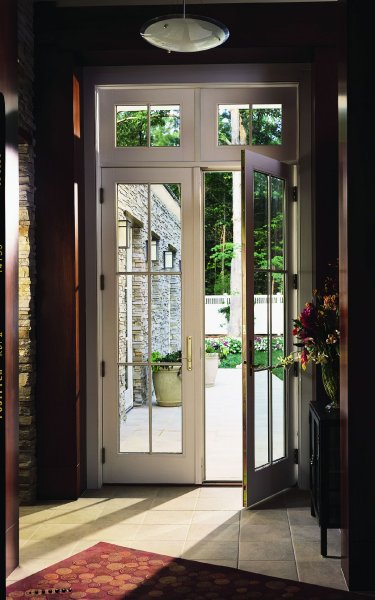 Andersen 400 Series FrenchwoodR Hinged Patio Door and Transom Windows with Colonial Grilles