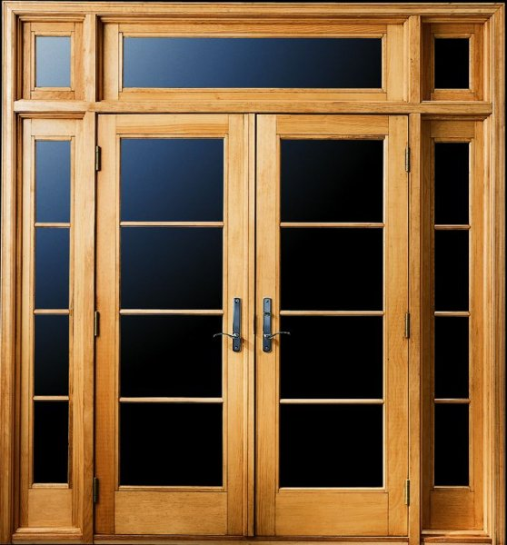 Andersen 400 Series FrenchwoodR Hinged Patio Door with Sidelights and Transoms and Specified Equal Light Grilles