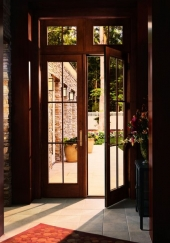 Andersen 400 Series FrenchwoodR Hinged Patio Door and Transom Windows with Colonial Grilles Stained Maple